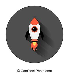 Rocket space ship icon in flat style. Spaceship vector illustration with long shadow. Rocket start business concept.