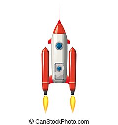 Rocket space ship, isolated vector illustration. Simple retro spaceship icon. Cartoon style, on white background, poster, baner