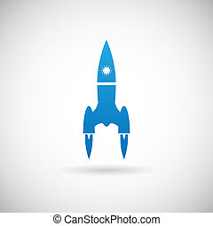 Rocket Space Ship launch Symbol Icon Design Template on Grey Background Vector Illustration