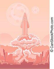 Rocket Space Ship launch. Vector illustration.