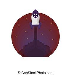 Rocket Space Vector Illustration Flat Style