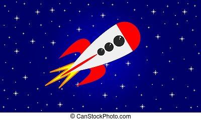 Rocket spaceship in space
