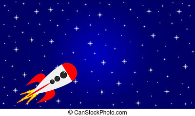 Rocket spaceship in space - Rocket spacecraft in space, art...