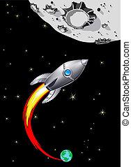 Rocket Spaceship to the Moon - Illustration of Spaceship...