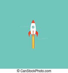 Rocket spaceship vector icon isolated