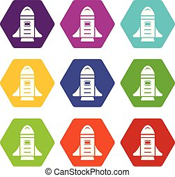 Rocket speed icons set 9 vector