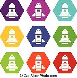 Rocket speed icons set 9 vector