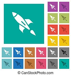 Rocket square flat multi colored icons