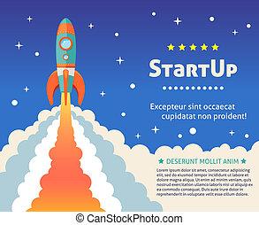 Rocket start background - Space rocket ship start up cartoon...