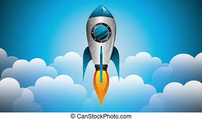 rocket start up and launcher ,hd video animation