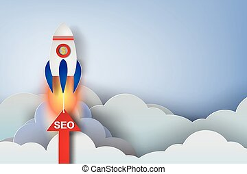 rocket start up concept idea, paper art style, seo, vector, illustration