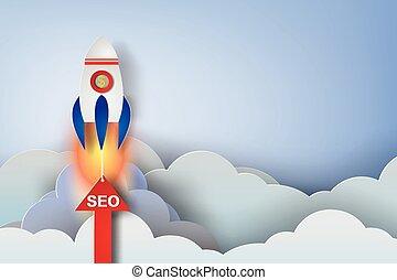 rocket start up concept idea,paper art style,seo,vector,illustration