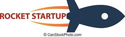 Rocket startup. Business. Rocket logo.