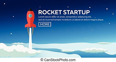 Rocket startup. Business. Rocket ship in a flat style. ...