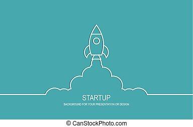 rocket startup concept - Flat design modern vector...