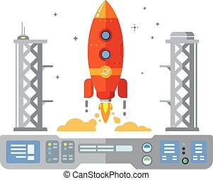 Rocket Startup Flat Desing Concept illustration in retro ...
