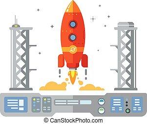 Rocket Startup Flat Desing Concept illustration in retro...
