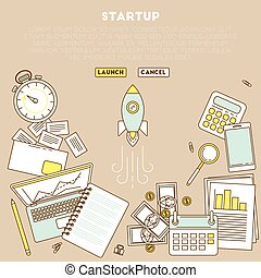 Business analytic illustration with laptop. timer and...