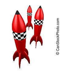 Rocket - 3d image, Rocket toy, isolated background