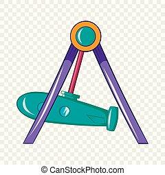 Rocket swing icon, cartoon style