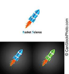 Rocket Symbol. Vector abstract business becground. 3d.