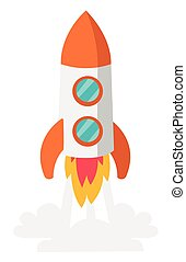 Rocket take off vector cartoon illustration. - Rocket...