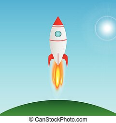 Rocket taking off illustration