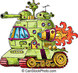 Rocket Tank - A groovy, cartoon rocket tank, ready for...