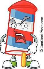 Rocket USA stripes cartoon character design with angry face