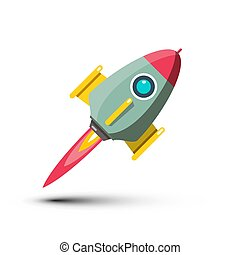 Rocket Vector Icon Isolated on White Background. Spaceship Symbol.