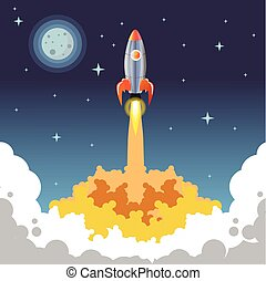 Rocket vector night start bussiness - Rocket vector night...