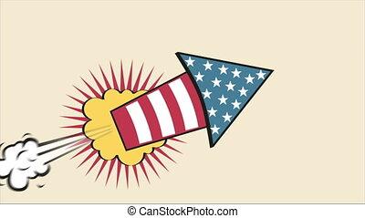 USA Rocket Cartoon, Video animation, HD 1080