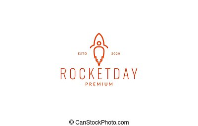 rocket with fire line minimalist logo vector illustration design
