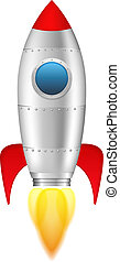 Rocket with flame on white background, vector eps10 illustration