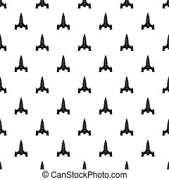 Rocket with four portholes pattern, simple style