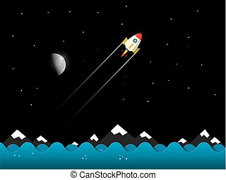 Rocket with Moon. Night Landscape. Vector.