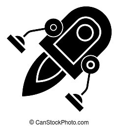 rocket with two legs icon, vector illustration, black sign on isolated background