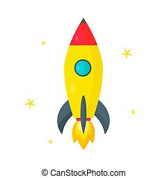 Rocket, yellow stars on a white background. Vector illustration