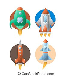 Rockets colorful set of four against circles on white
