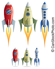 Rockets - Set of 3 cartoon rockets in 2 versions. No...