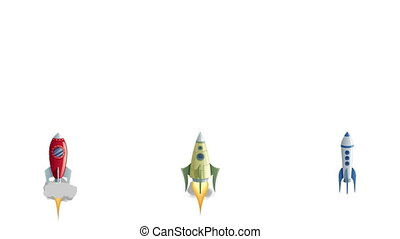Set of 3 cartoon rockets launching. Alpha channel included.