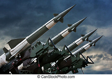 Rockets - Antiaircraft rockets on the launcher against...