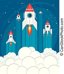 Rockets take off into space - Vector illustration of rockets...