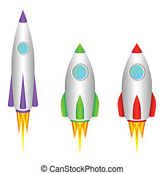 Three different space rockets on a white background.