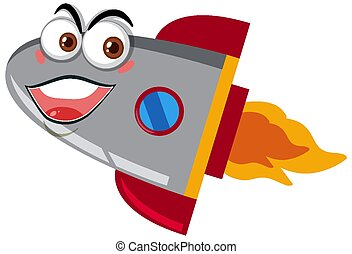 Rocketship cartoon with happy face on white background