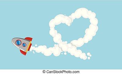 Rocketship flying in sky illustration
