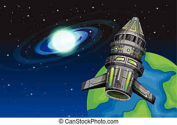 Rocketship flying in the space