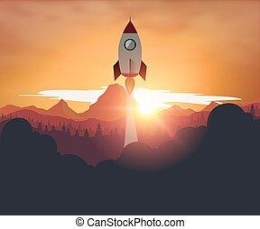 Rocketship on computer for startup media. - Rocketship on...