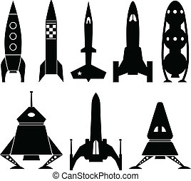 Rocketship vector icons