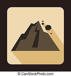 Rockfall icon in flat style